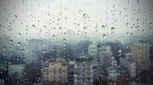 Превью обои дождь, окно, стекло, здания, капли
