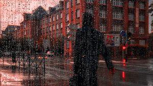 Превью обои дождь, силуэт, город, капли, мокрый