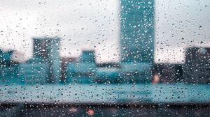 Превью обои дождь, стекло, капли, размытость, окно