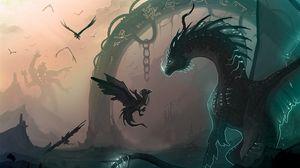 Превью обои дракон, цепь, детеныш, птицы