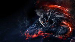 Превью обои дракон, динозавр, огненный, существо, арт
