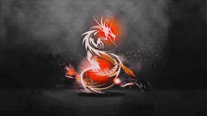 Превью обои дракон, фон, огонь, тень