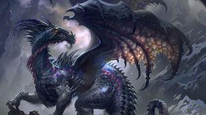 Превью обои дракон, крылья, профиль, скалы