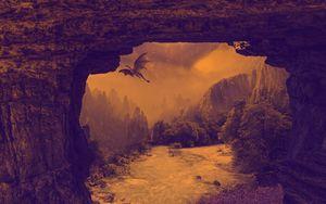 Превью обои дракон, мистический, фэнтези, водопад, река, скалы