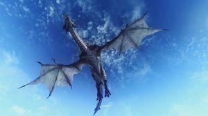 Превью обои дракон, небо, полет, 3d