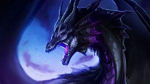 Превью обои дракон, оскал, фантастика, существо, арт