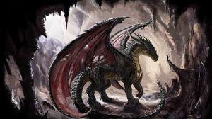 Превью обои дракон, пещера, свет, арт