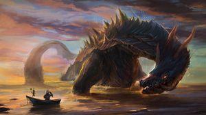 Превью обои дракон, рыцарь, арт, лодка