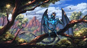 Превью обои дракон, скелет, крылья, существо, магический, сказочный