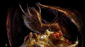 Превью обои дракон, сокровище, золото