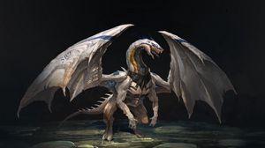 Превью обои дракон, существо, крылья, камни