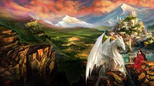 Превью обои дракон, замок, принцесса, горы, пейзаж