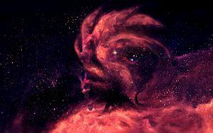 Превью обои дракон, звездное небо, силуэт, фантастический