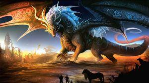 Превью обои драконы, мать, детеныш, люди, животные, закат