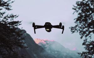 Превью обои дрон, квадрокоптер, горы, сумерки, пейзаж