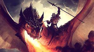 Превью обои джейсон чан, дракон, огонь, наездник