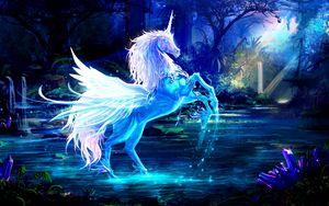 Превью обои единорог, вода, лес, ночь, магия