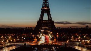 Превью обои эйфелева башня, париж, ночь, огни города