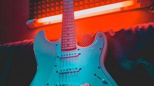 Превью обои электрогитара, гитара, музыкальный инструмент, неон, свет