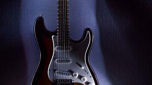Превью обои электрогитара, гитара, музыкальный инструмент, подсветка, музыка