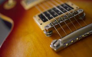 Превью обои электрогитара, гитара, струны, музыкальный инструмент, коричневый