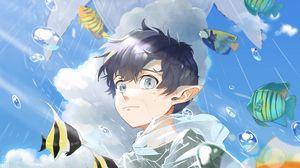 Превью обои эльф, парень, вода, рыбы, аниме