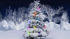 Превью обои елка, гирлянда, иней, снег, деревья