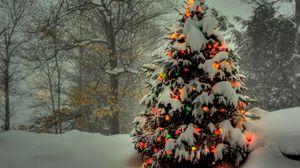 Превью обои елка, гирлянды, новый год, рождество, деревья, снег, зима, праздник