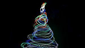 Превью обои елка, неон, длинная выдержка, фризлайт, свет