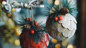 Превью обои елочные игрушки, новый год, рождество, украшение, блики