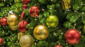 Превью обои елочные игрушки, шары, елка, новый год, рождество, разноцветный
