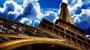 Превью обои эйфелева башня, париж, франция, небо