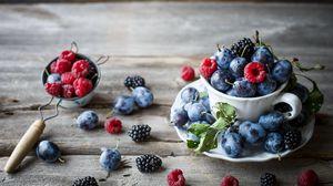 Превью обои ежевика, малина, ягоды