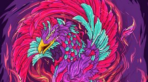 Превью обои феникс, птица, арт, красочный, яркий