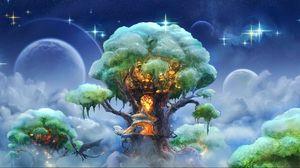 Превью обои фэнтези, дерево, арт, волшебство
