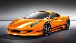 Превью обои ferrari, 458, italia, оранжевый, вид спереди