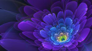 Превью обои фиолетовый, цветок, фрактал