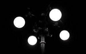 Превью обои фонарь, темный, ночь, свечение, фонарный стобл