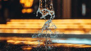 Превью обои фонтан, вода, брызги, капли