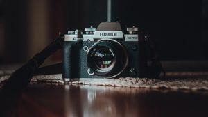 Превью обои фотоаппарат, камера, объектив, черный, серый