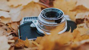 Превью обои фотоаппарат, листья, листва, сухой, осень