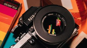 Превью обои фотоаппарат, объектив, пленка, оптика, фотография