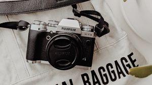 Превью обои фотоаппарат, объектив, ретро, надпись