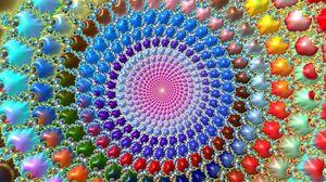 Превью обои фрактал, круги, узоры, разноцветный