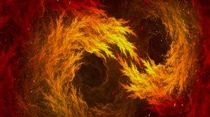 Превью обои фрактал, узоры, огненный, красный