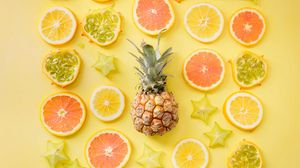 Превью обои фрукты, цитрусы, ананас, желтый, лимон, апельсин