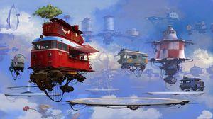 Превью обои фургон, дом, будущее, арт, sci-fi