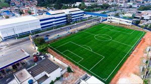 Превью обои футбольное поле, футбол, поле, вид сверху