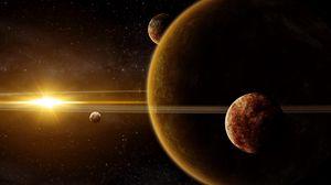Превью обои галактика, планеты, свет, звезды, лучи