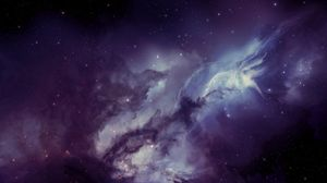 Превью обои галактика, туманность, размытость, звезды
